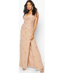gedrapeerde met de hand versierde bruidsmeisjes maxi jurk, blush