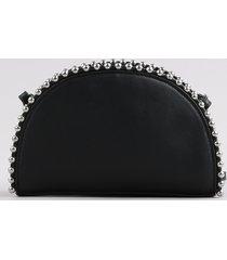 bolsa feminina pequena transversal com tachas preta