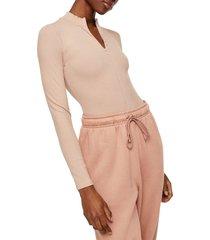 women's topshop full zip long sleeve bodysuit, size 14 us - beige
