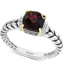 effy rhodolite garnet (1-9/10 ct. t.w.) & diamond accent statement ring in sterling silver & 18k gold