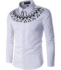 fashion printing sottile fit uomo manica lunga bianco camicia