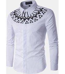moda stampa sottile fit uomo manica lunga bianco camicia