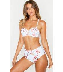 petite pastel floral high waist bikini, green