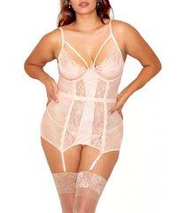 clair plus size elegant floral lace chemise and panty set, 2 piece