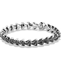 david yurman armory single row link bracelet with black diamonds, size medium in silver/black diamond at nordstrom
