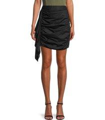 rhode women's hannah drape ruched mini skirt - black - size s