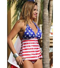 stars and stripes vintage open-back tankini bikini -sizes: s, m, l, ll,1x,2x