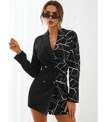 yoins vestido estilo blazer negro de patchwork geométrico