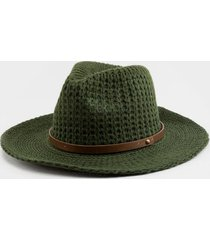 erika cable knit panama hat in evergreen - evergreen