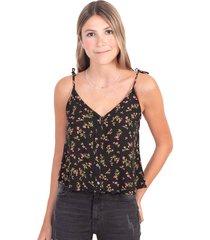 camisa negra con estampado de flores, botones y anudados en tiras flashy