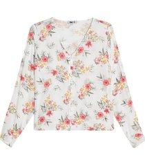 blusa con escote en v color blanco, talla 12