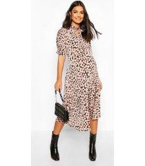 maternity midi spot print skater dress, mocha