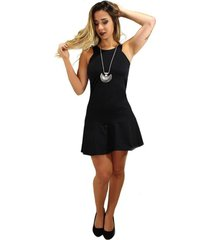 vestido racy modas curto godê regata preto