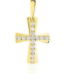 ciondolo in oro giallo e zirconi croce per donna