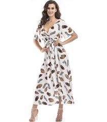 vestido de gasa floral de manga corta con cuello en v para mujer -blanco