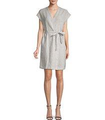 striped chambray wrap dress