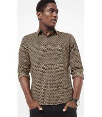 mk camicia slim-fit in cotone stretch e stampa con logo - creta (naturale) - michael kors