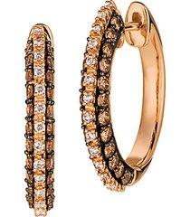 chocolatier® 14k strawberry gold®, chocolate diamonds® & vanilla diamonds® hoop earrings