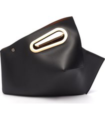 'athaarah' cut out top handle leather clutch