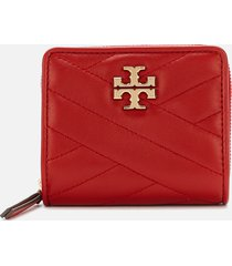 tory burch women's kira chevron bi-fold wallet - red apple