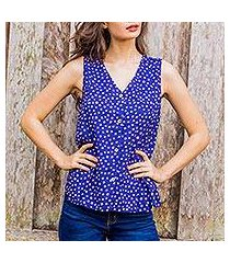 cotton sleeveless blouse, 'polka dot night' (thailand)
