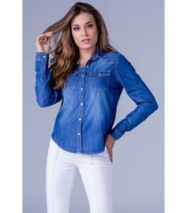 camisa jeans equivoco alice feminina