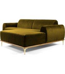 sofá 3 lugares com chaise esquerdo base de madeira euro 245 cm veludo mostarda gran belo