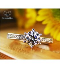 1 ct vvs1 diamond round cut solitaire w/ accents ring 14k white gold 925 silver