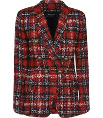 balmain double-breasted check frayed blazer