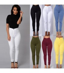 fashion women's casual vintage skinny trousers slim elastic candy color high wai