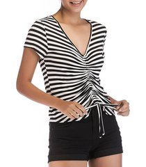 v neck striped pleated t-shirt