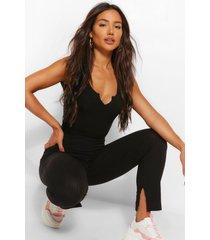 gebreide geribbelde legging met split, zwart