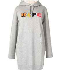 a bathing ape® logo-patch hoodie dress - grey
