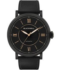 blackwell black dial with black plated steel and black leather watch 44 mm