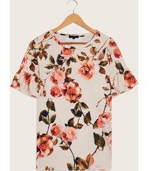 camiseta estampada floral beige s