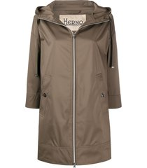 herno rubberised hooded coat - green