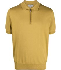 canali zip-up cotton polo shirt - neutrals