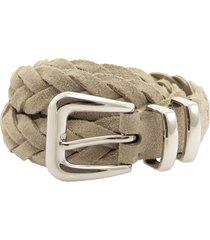 braided reversed calfskin belt with tip brunello cucinelli