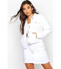 crop jean jacket, white