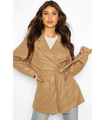 marled wool look belted coat, camel