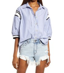 free people sport stripe button front top, size x-small in blue combo at nordstrom