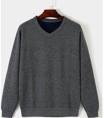 suéter ajustado de punto de manga larga con cuello en v informal para hombre