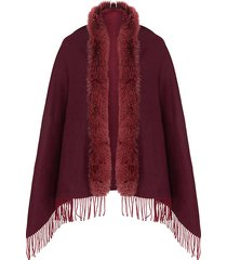 fox fur fringe cashmere & wool shawl