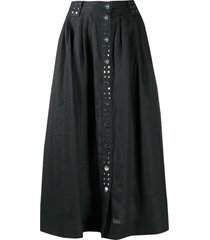 ganni studded a-line midi skirt - black