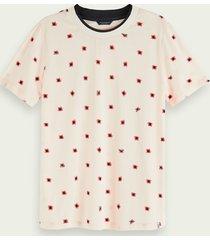 scotch & soda t-shirt van een katoenmix met seizoensprint en korte mouwen
