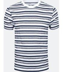 randig t-shirt i bomull - blå