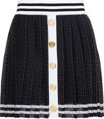 balmain black pleated monogram jacquard skirt