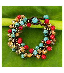 beaded bracelet, 'blue fire cattlelaya' (thailand)
