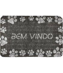 capacho carpet bem vindo com patinhas brancas cinza ãšnico love decor - cinza - dafiti