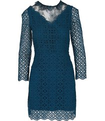 sandro women's long-sleeve geometric lace sheath dress - oil - size 36 (s)